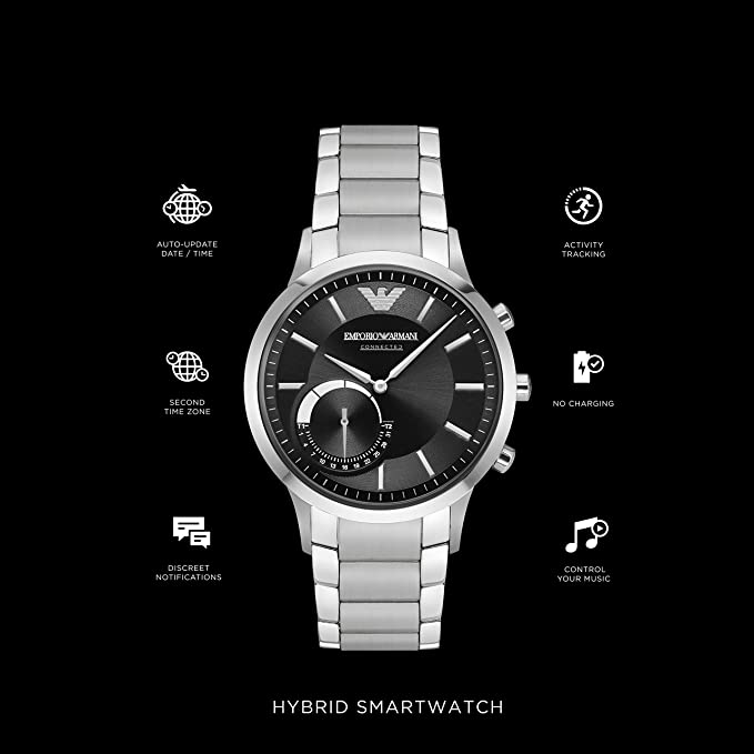 Emporio Armani Connected Hybrid-Smartwatch plata/negro: Amazon.es ...