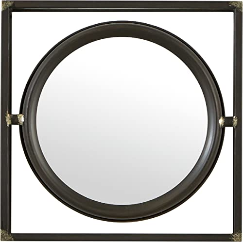 Amazon Brand Stone Beam Industrial Square Floating Metal Wall Mirror, 12 Inch Height, Black