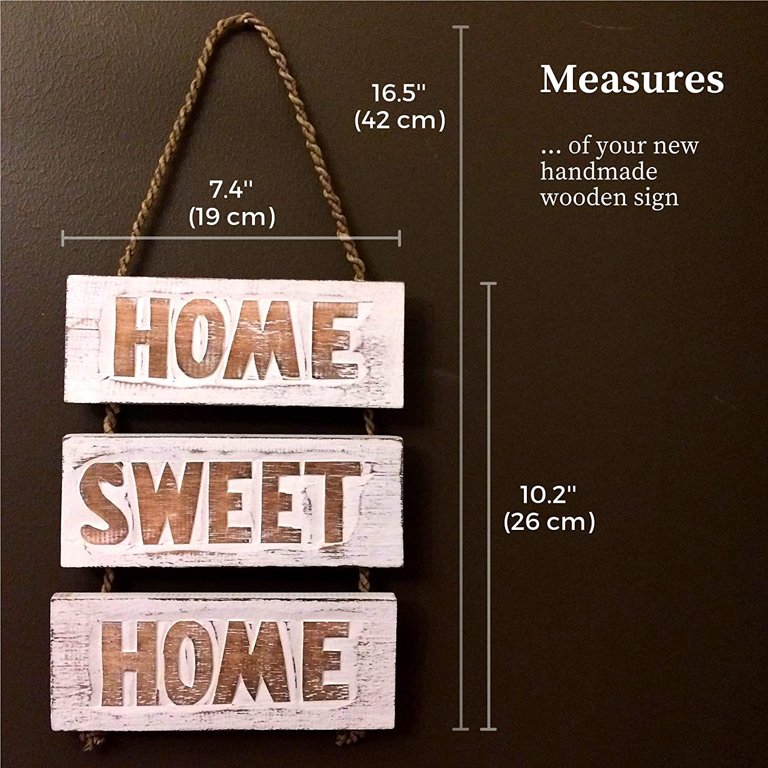 Amazon.com: Home Sweet Home cartel de madera – hecho a mano ...