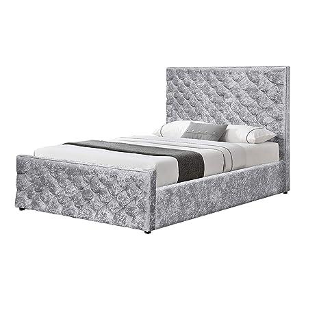 Admirable Owo Living 5Ft Silver Upholstered Crushed Velvet Ottoman Ibusinesslaw Wood Chair Design Ideas Ibusinesslaworg