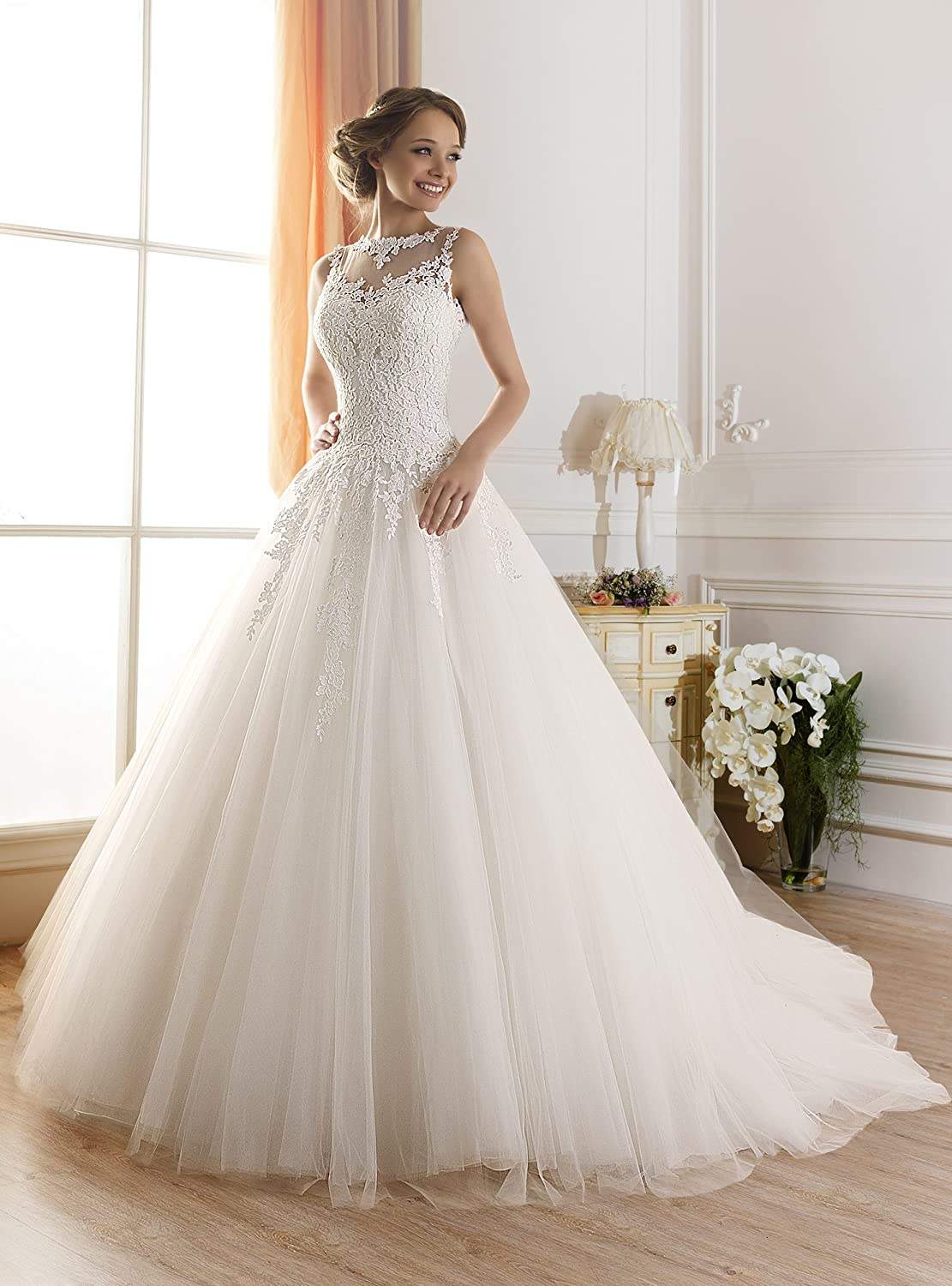 TBB Illusion Lace Ball Gown casamento Elegant Long Wedding dresses ...
