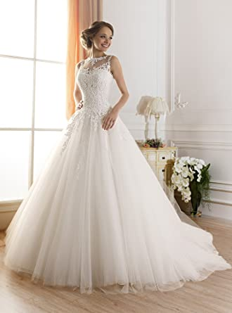 TBB Illusion Lace Ball Gown Casamento Elegant Long Wedding Dresses (2)