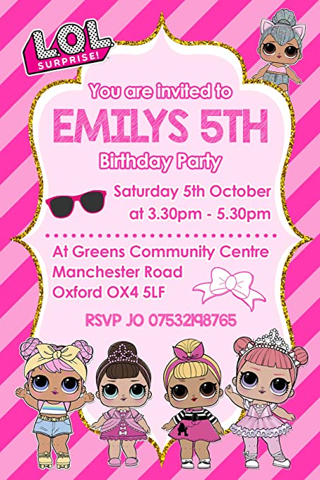LOL Doll Party Invitations Envelopes Invites Personalised Click Customize Now For Prices
