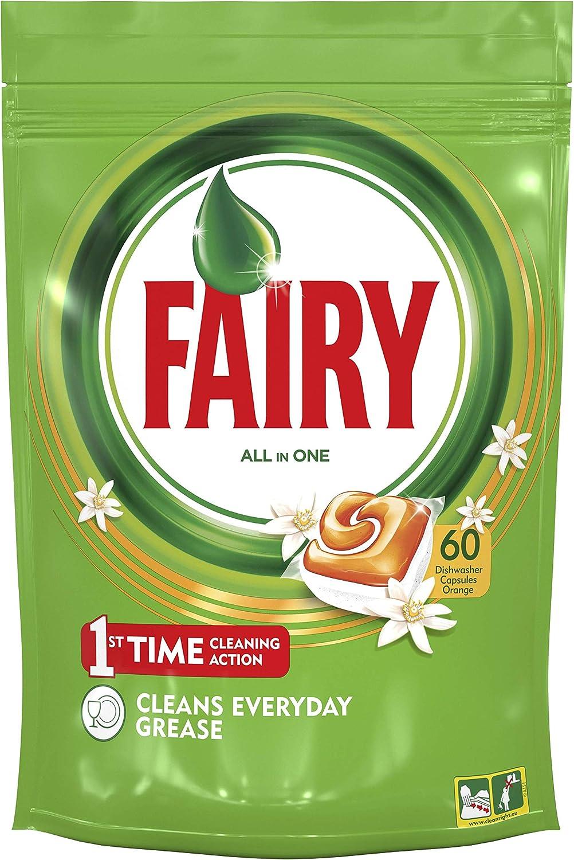 Fairy Todo En 1 Cápsulas de Lavavajillas Naranja, Pack de 60 ...