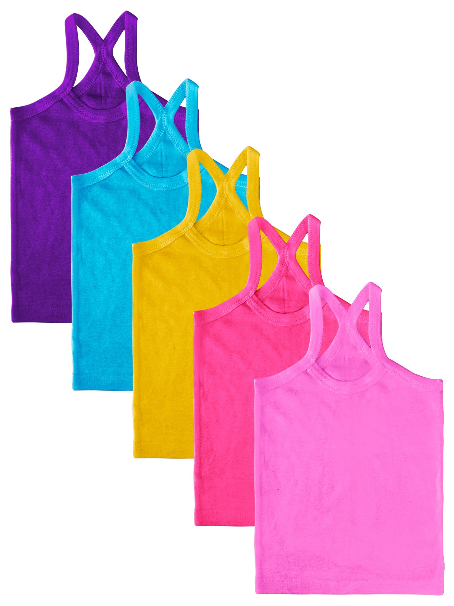 Coobey 5 Pack Girls' Toddler Cami Tank Tops Cotton Undershirt Tank Tee Top Soft Camisole (2T/3T, Mixed 5 Colors)