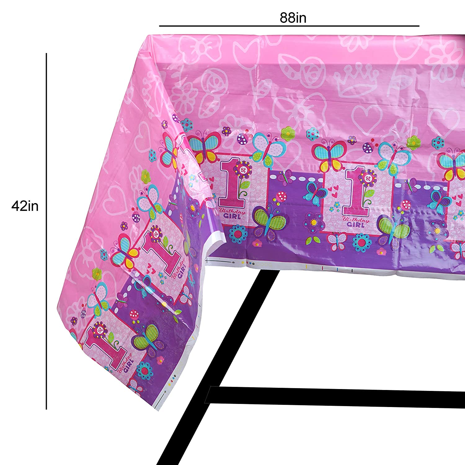 95 Piece 1 Year Old Girl Birthday Party Set Including Banner Plates Cups Napkins Tablecloth And Balloons Serves 20 Scale Rank Best Christmas Gifts 2018