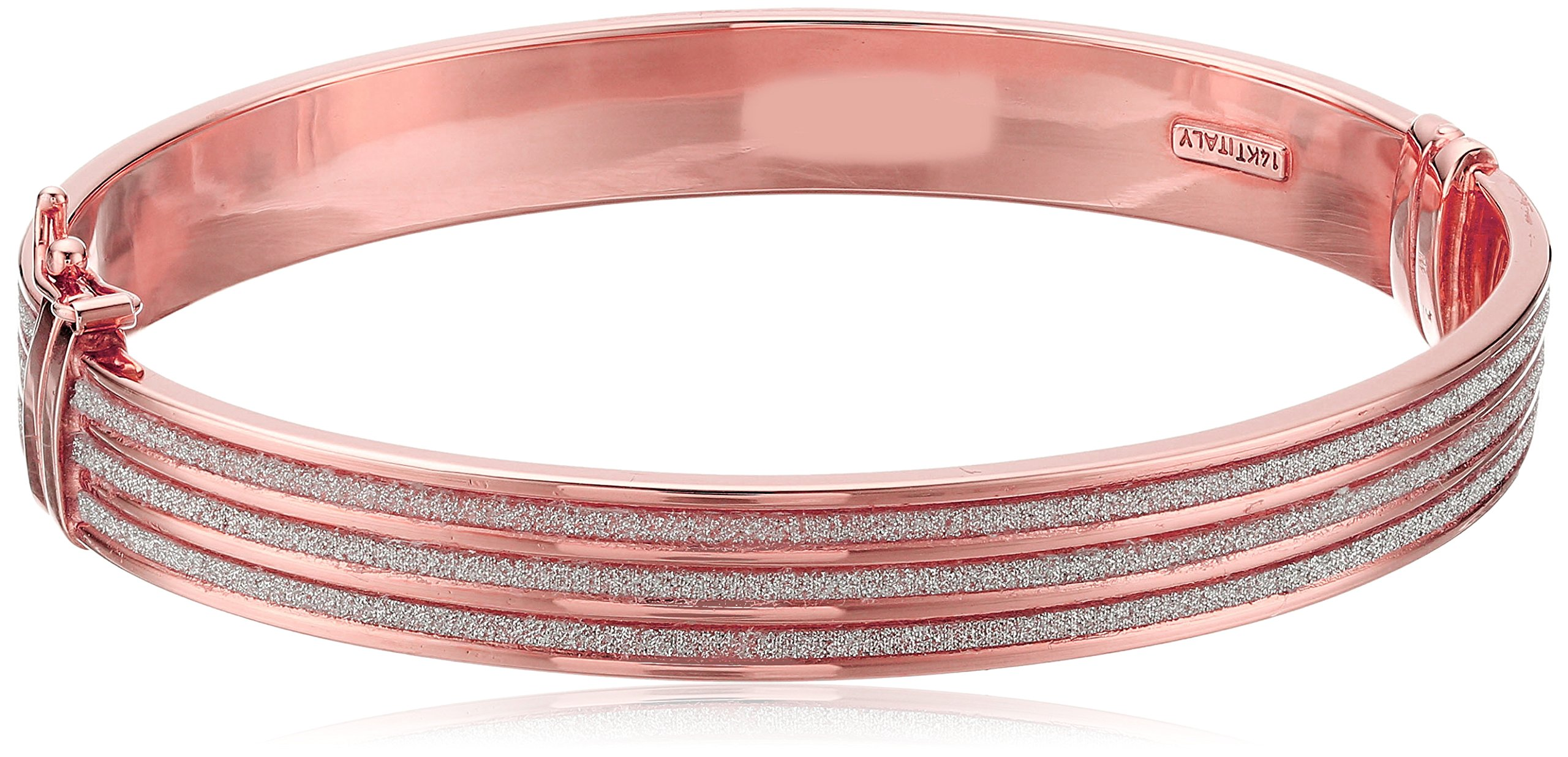 14k Rose Gold Italian 9 mm Tube Hinged with Triple Pave Style Glitter Strips Bangle Bracelet by Amazon Collection