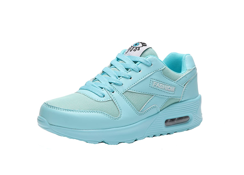 KUIBU Women Lightweight Sport Breathable Slip-On Platform Toning Shoes PU Mesh High Heel Sneaker Athletic