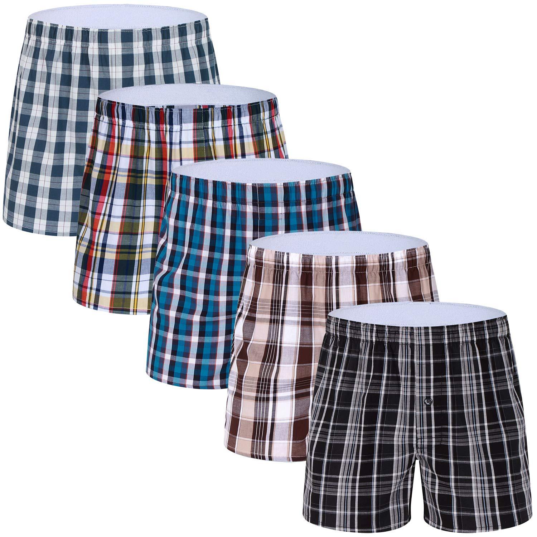 Men's Colorful Woven Boxer Underwear 100% Cotton Premium Quality Shorts M MOACC