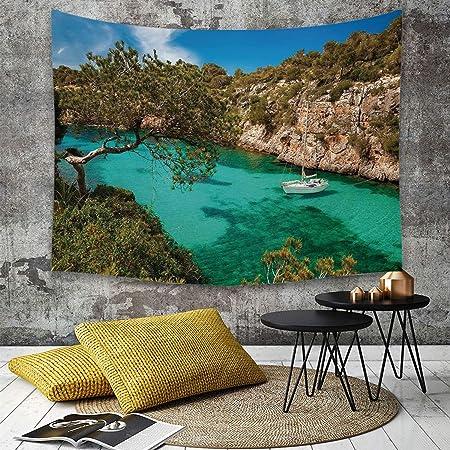 Tapestry,Hippie Tapiz,tapiz de pared con decoración para el hogar,Naturaleza, pequeño yate que flota en el mar Mallorca España Montañas ro,para picnic Mantel o Toalla de Playa redonda 150 x 200 cm: Amazon.es: