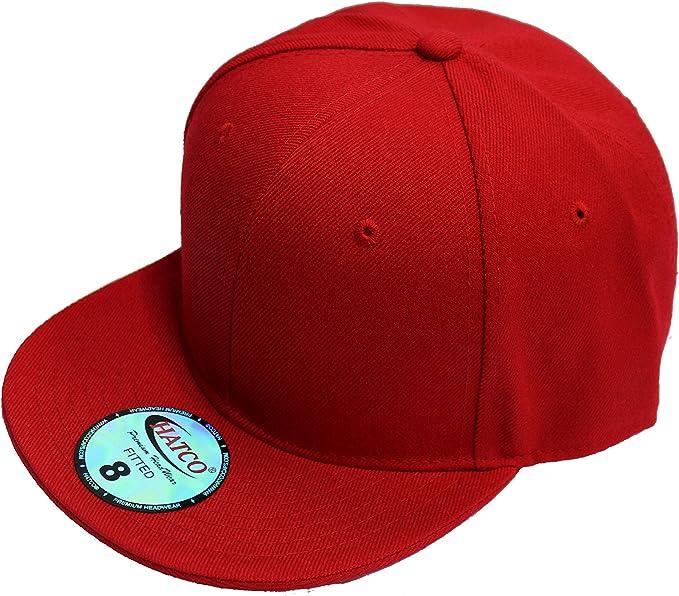 "New Plain Yellow Flat Peak Fitted Baseball Cap 7/"""