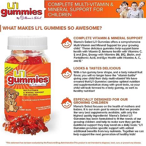 Gominolas para niños - Soporte completo para niños con multivitaminas y hierro, con vitaminas para niños - Lil Gummies de Mamas Select contiene ...