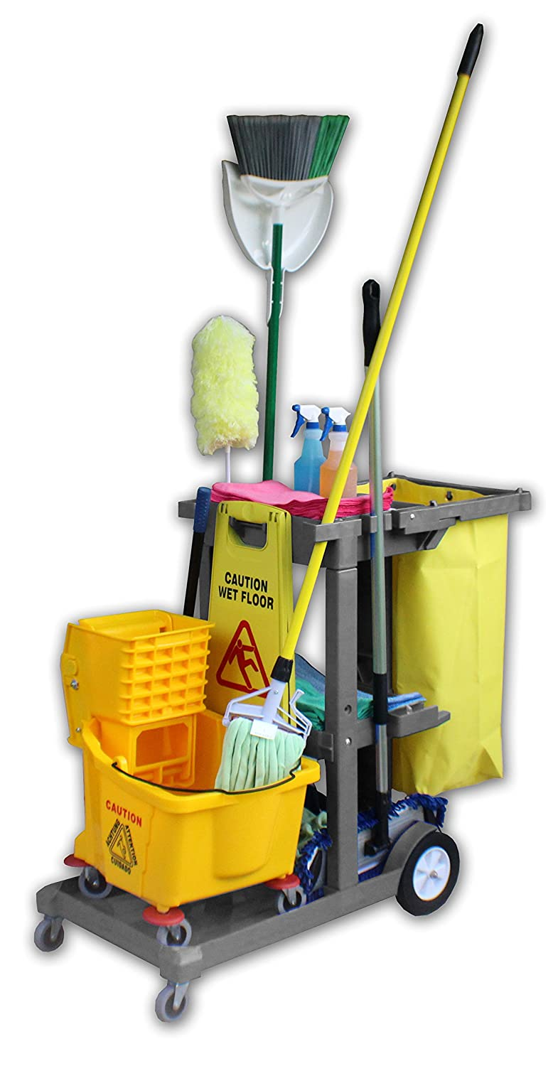 Janitor Custodian Heavy Duty Blue Plastic Housekeeping Cart Kit with Accessories