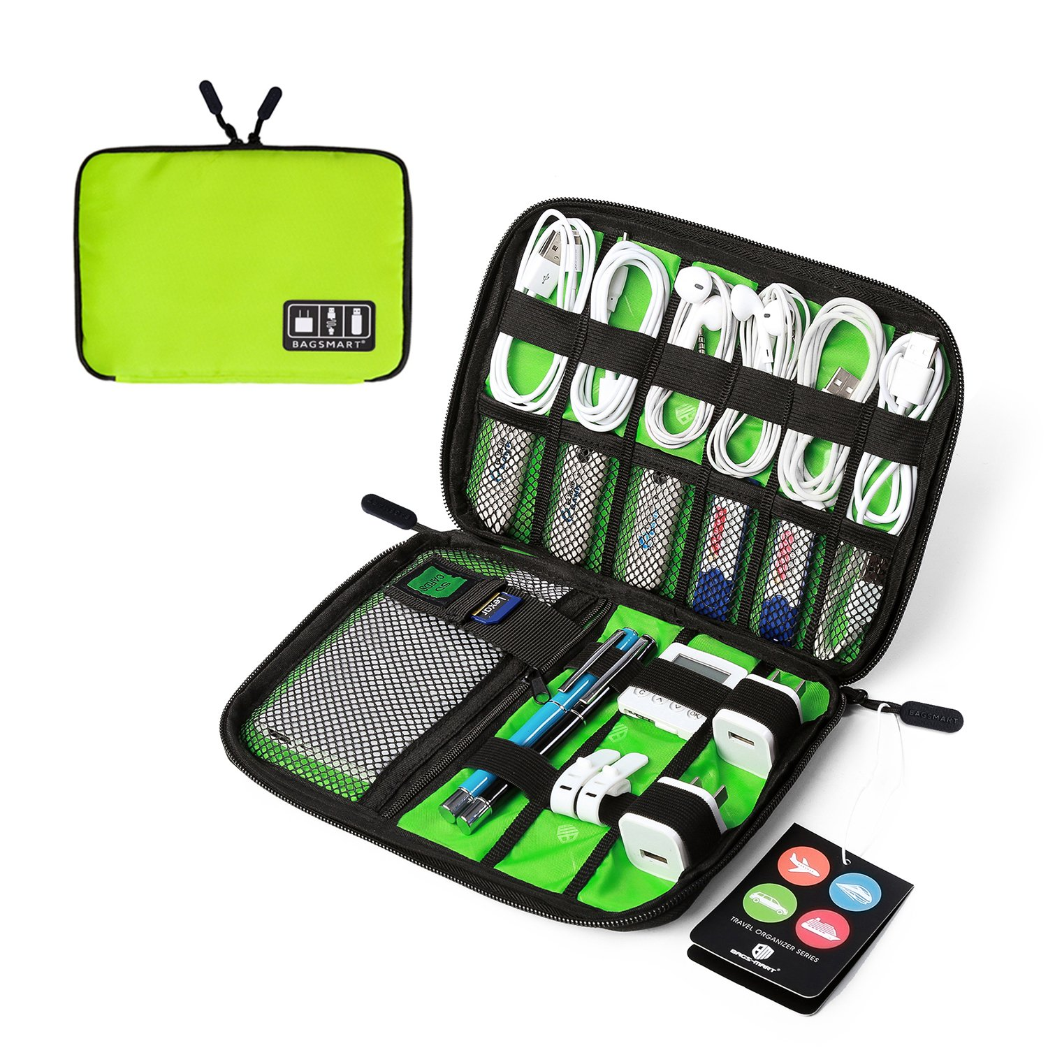 BAGSMART Travel Cable Organizer Portable Electronics Accessories Cases for Hard Drives, Charging Cords, USB Charger, Fluorescent Green