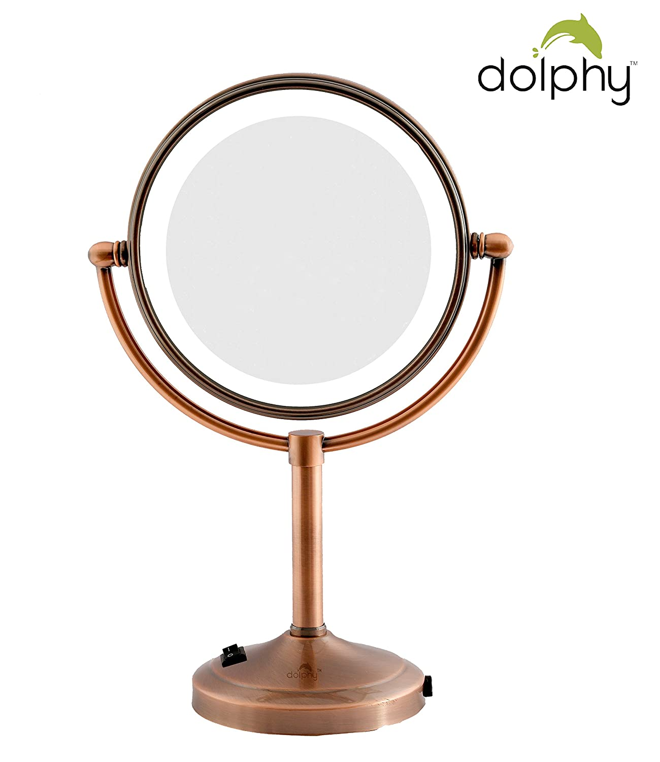 Dolphy Copper 5x LED Tabletop Shaving & Makeup Vanity - 8 Inch Magnifying Mirror