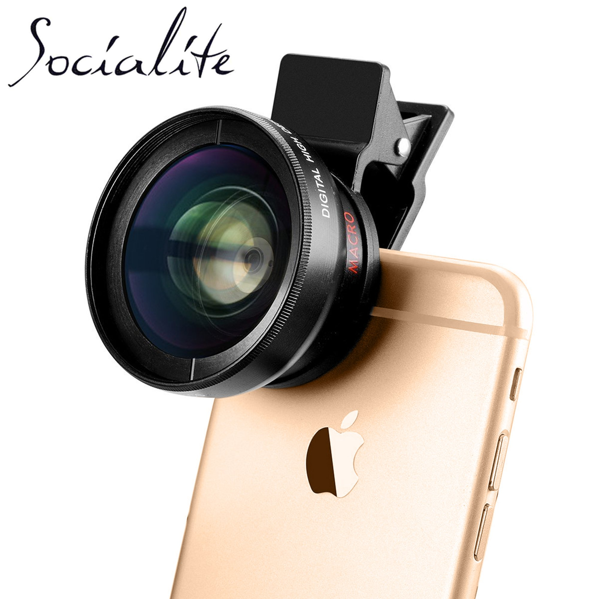 SOCIALITE Professional HD Camera Photo & Video Clip On Lens Kit for iPhone Smartphone 6s 7 8 X Plus Mobile Phone Android, & Samsung 0.45x Super Wide Angle Lens 12.5x Macro
