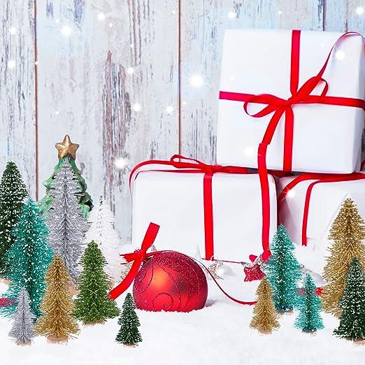 KUUQA 30Pcs Multicolor Mini Navidad Village Árboles Cepillo de ...