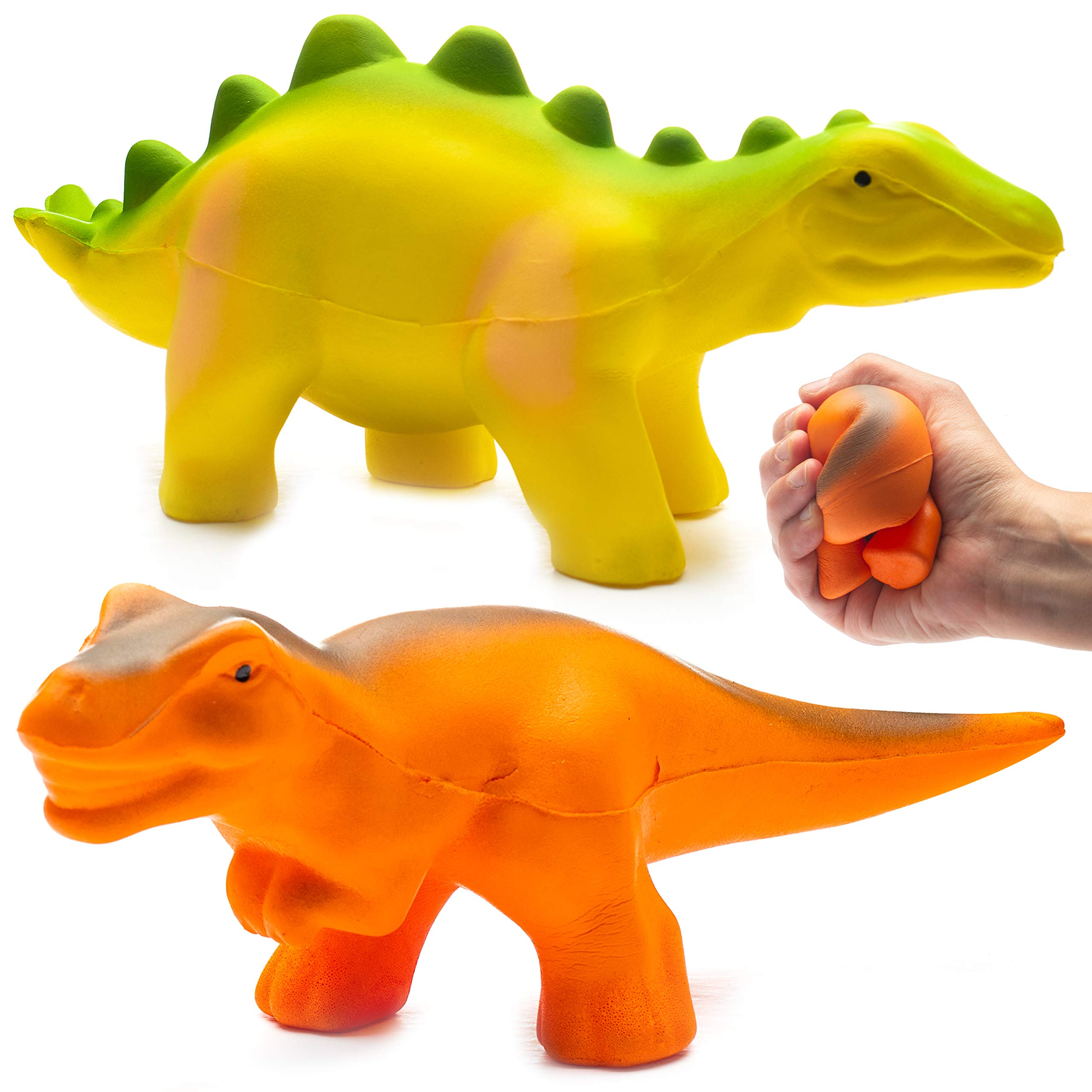 Prextex Jumbo Slow Rising Squishies Pack 0f 2 Dinosaur Squishy Toys T-Rex and Stegosaurus Stress Relief Toy Dinosaurs