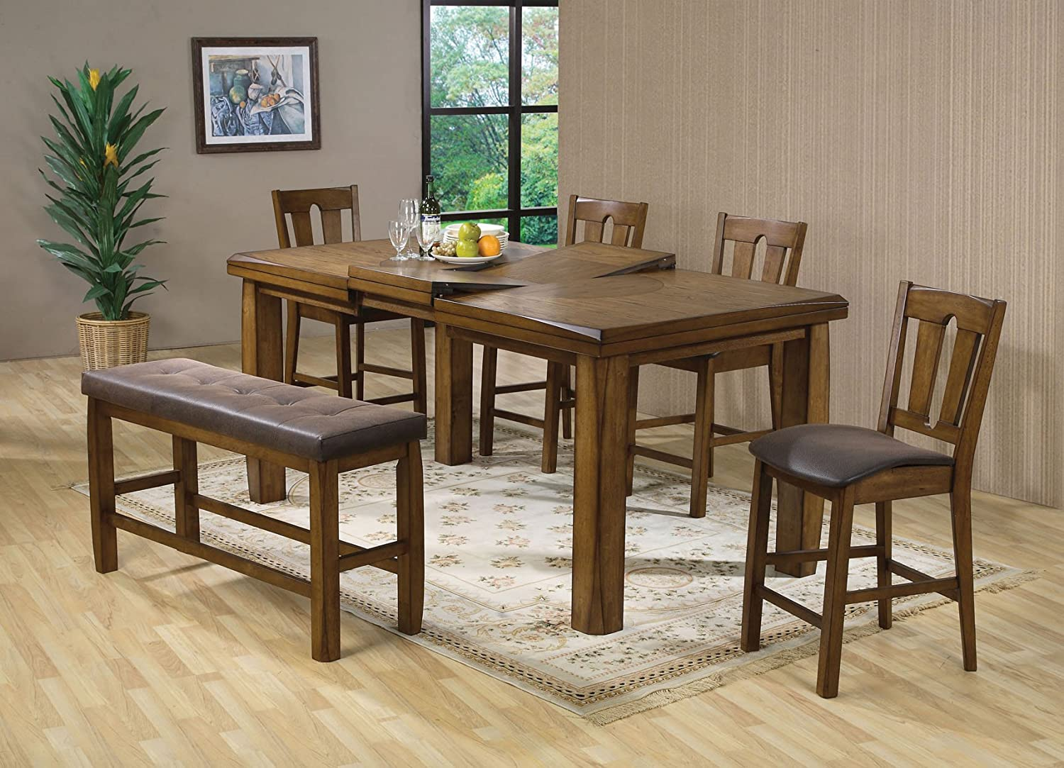 Amazon.com   Acme 00845 Morrison Counter Height Table, Oak Finish   Tables
