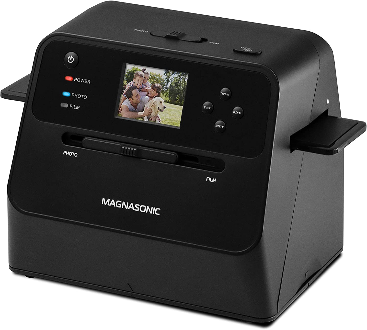 """Magnasonic All-in-One Film & Photo Scanner, 14MP Resolution, Converts 4x6 Photos, 35mm/110/126 Film & 135 Slides into Digital JPEGs, Vibrant 2.4"""" LCD Screen, Fast Scanning (FS60)"""