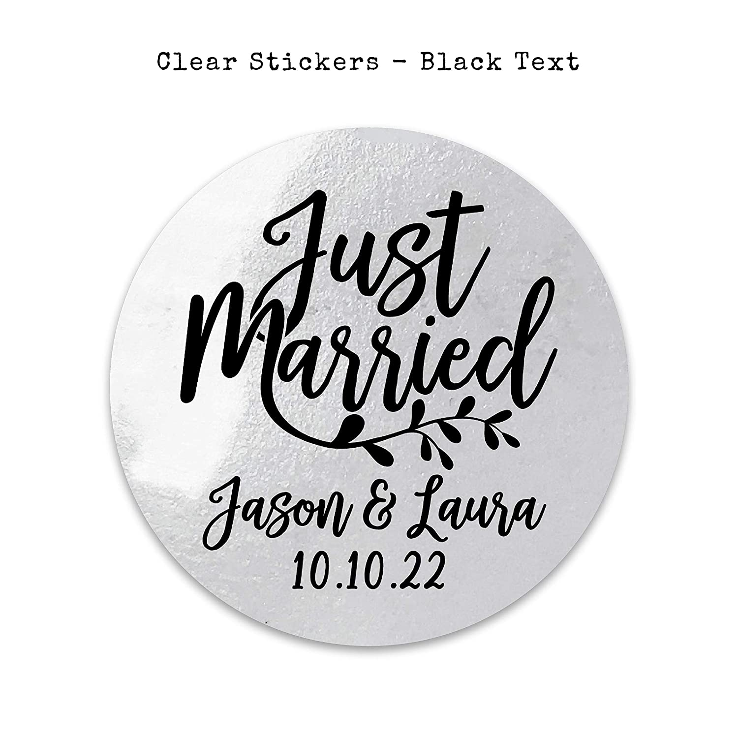 Custom wedding stickers Just married stickers for favour bags Personalised with your names and date