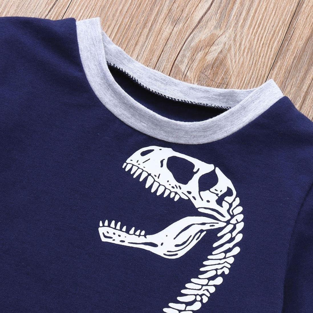 ◕‿◕ LMMVP 2 Pcs Enfants B/éb/é Gar/çons Dinosaure Imprimer /À Manches Courtes Tops Shorts Tenues V/êtements Ensembles