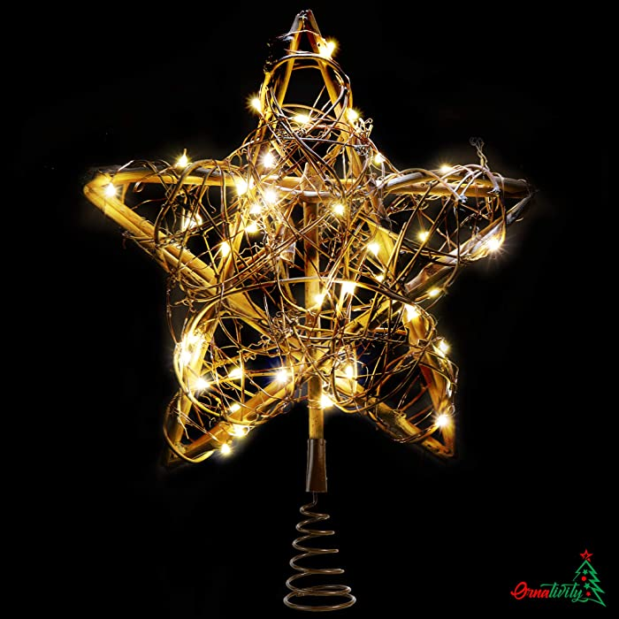 Ornativity Rattan Star Tree Topper - Christmas Rustic LED Light Up Tree Topper Decoration