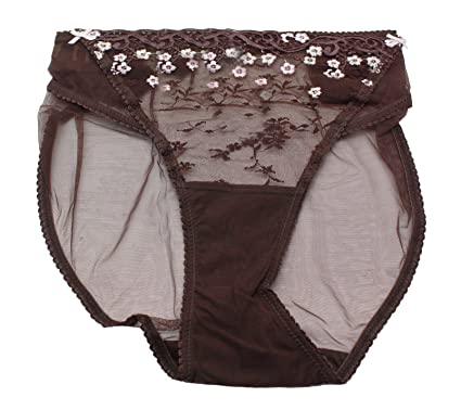 5f10026920 Ladies Ex BHS Brown High Leg Embroidered Knickers. Size 20  Amazon.co.uk   Clothing