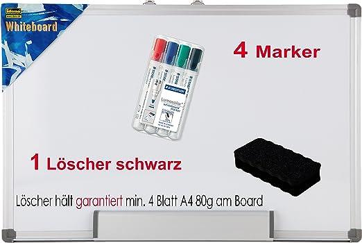 Idena 568019 Whiteboard Mit Aluminiumrahmen Und Stiftablage (40x60 Cm + 4 Marker + Löscher, Mit Löscher Schwarz) by Amazon
