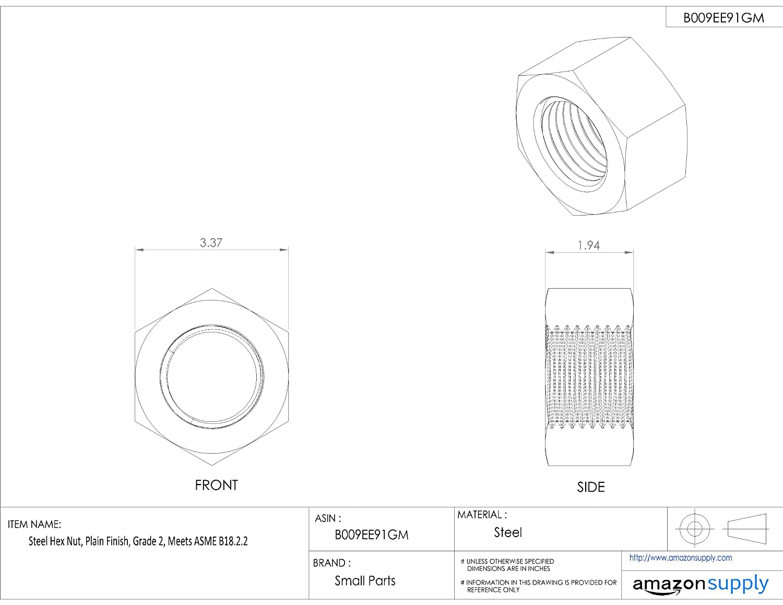 Steel Hex Nut 1-15//16 Thick 3-3//8 Width Across Flats Plain Finish 2-1//4-4-1//2 Thread Size Grade 2