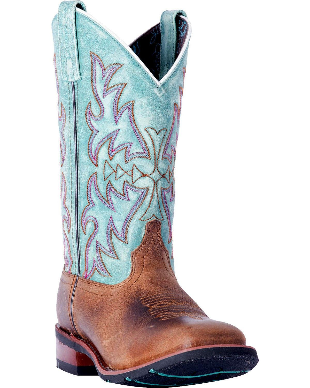 Laredo Women's Anita Brown/Blue Cowgirl Boot Square Toe - 5607 B079NDYP88 7.5 B(M) US|Brown