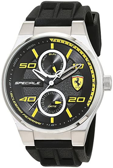 Reloj Scuderia Ferrari para Hombre 0830355, Negro (Negro/Amarillo)