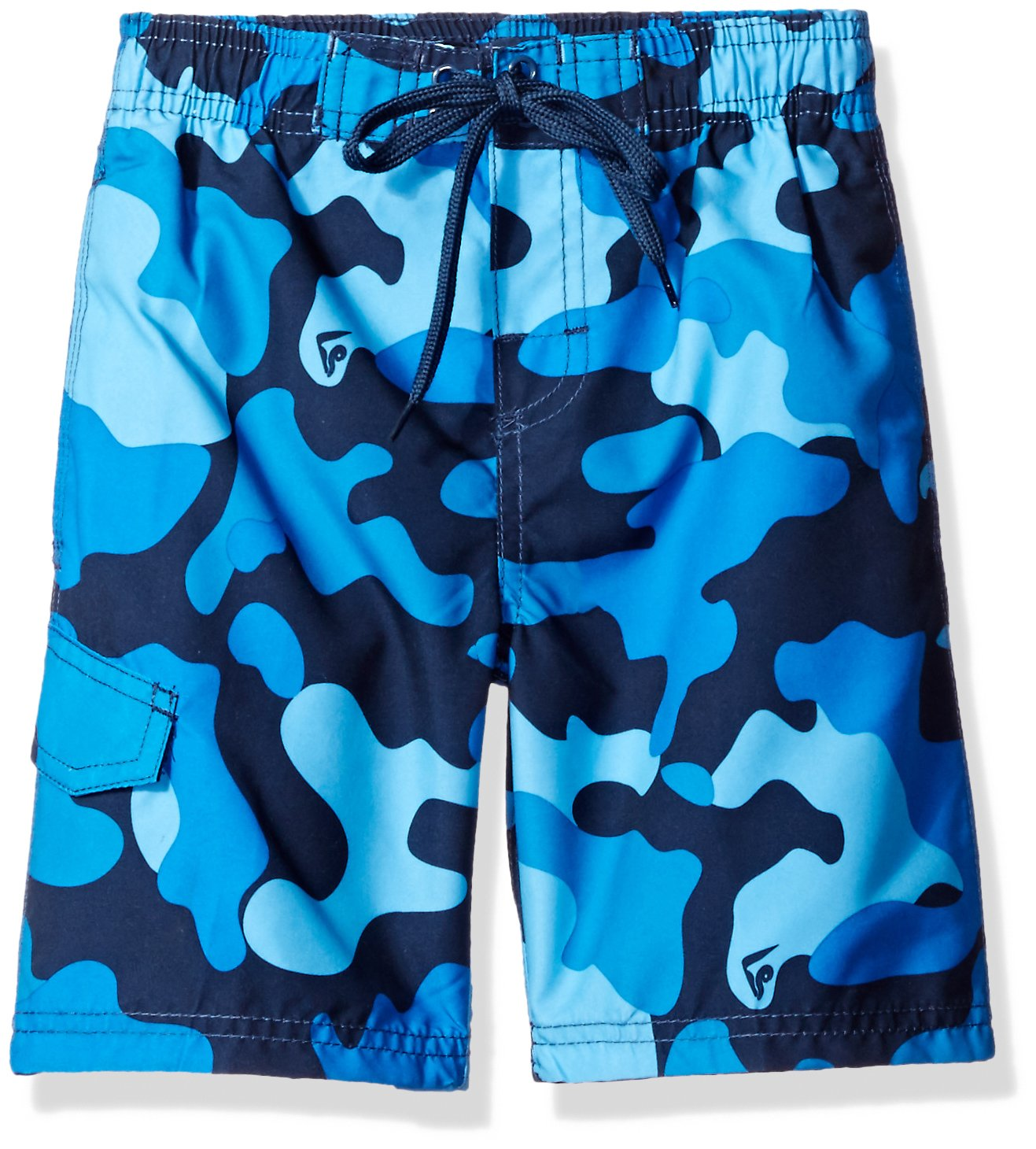 Kanu Surf Little Boys' Camo Swim Trunk, Navy, Medium (5/6)