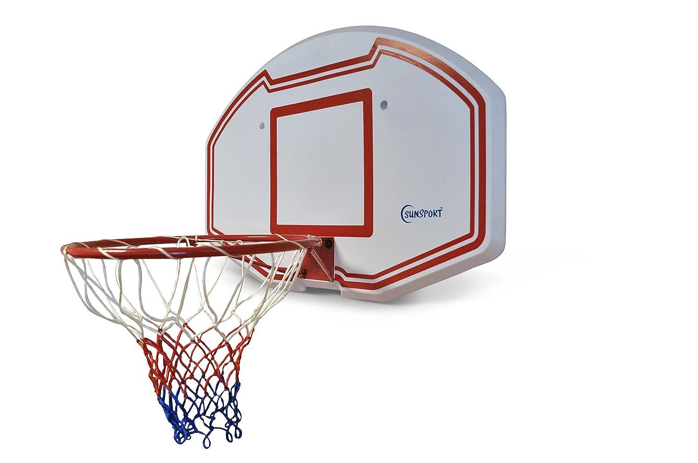 Sunsport Unisex Basketball Rückwand Rand und Net, weiß