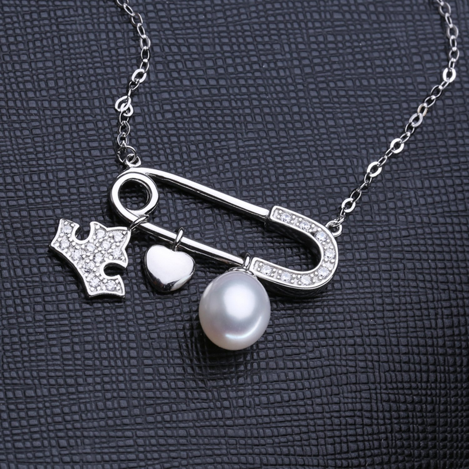 CS-DB Jewelry Silver Pearl Engagement Chain Charm Pendants Necklaces