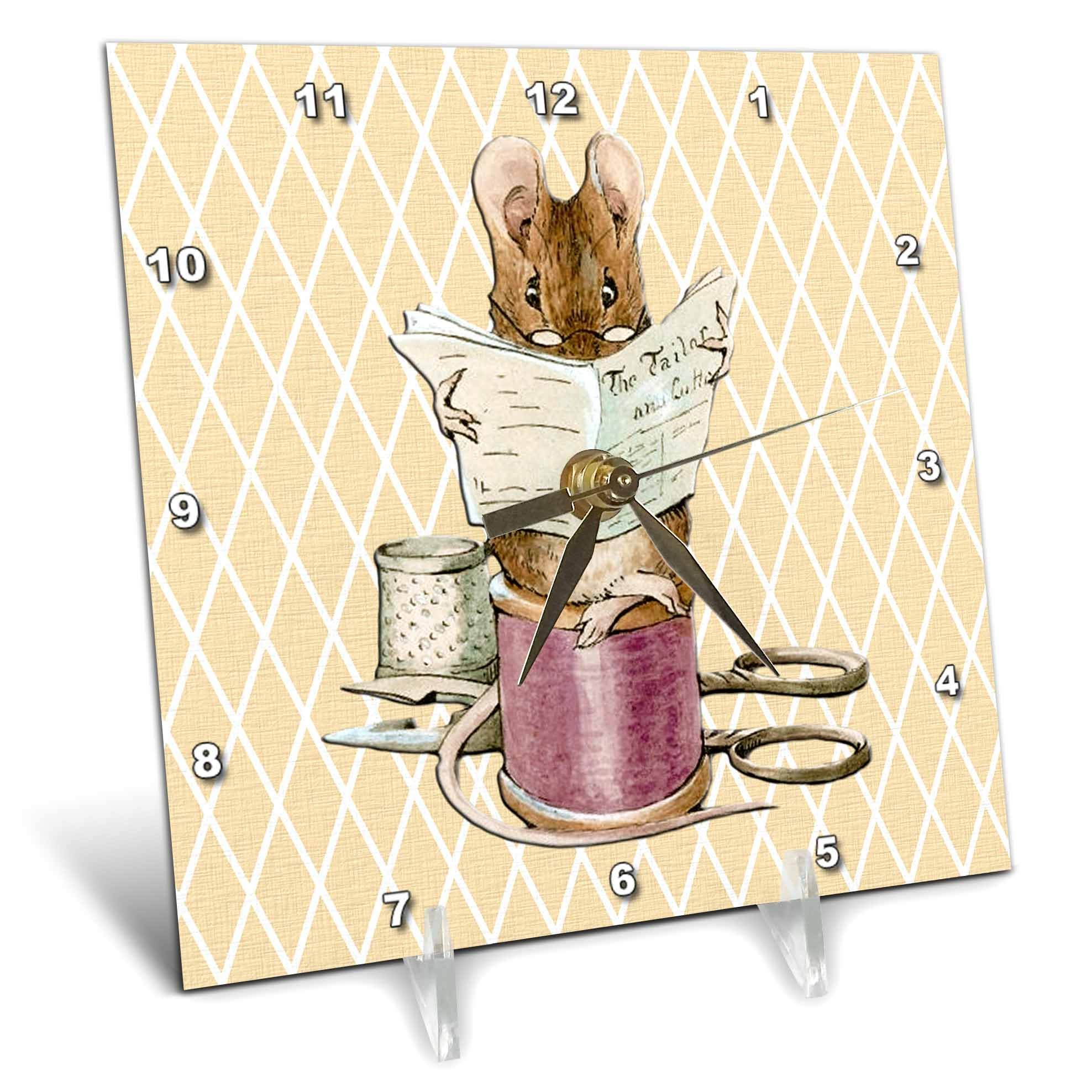 3dRose dc_79401_1 Sewing Mouse- Vintage Art- Animals-Desk Clock, 6 by 6-Inch