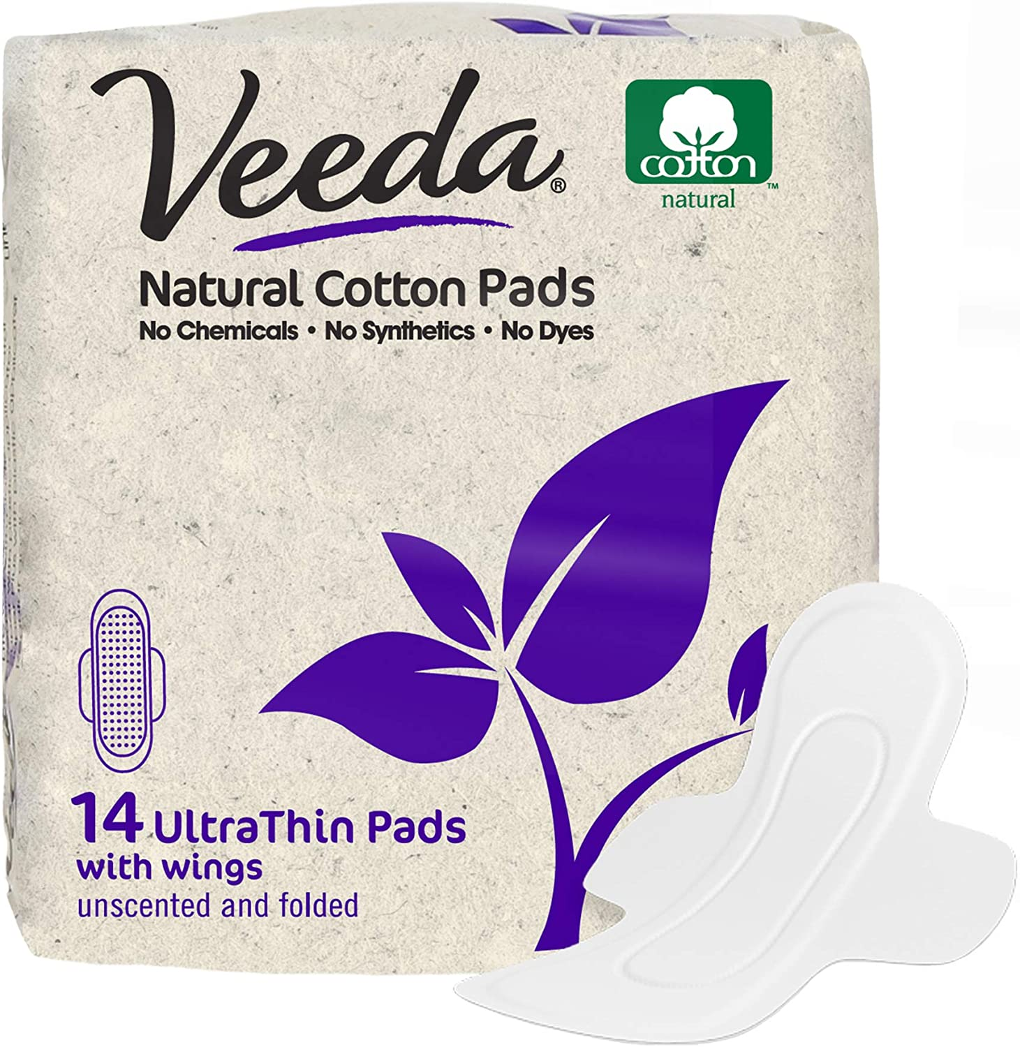 Veeda Ultra Thin Super Absorbent Day Pads Are Always Chlorine Pesticide Dye and Fragrance Free Natural Cotton Sanitary Napkins, 14 Count