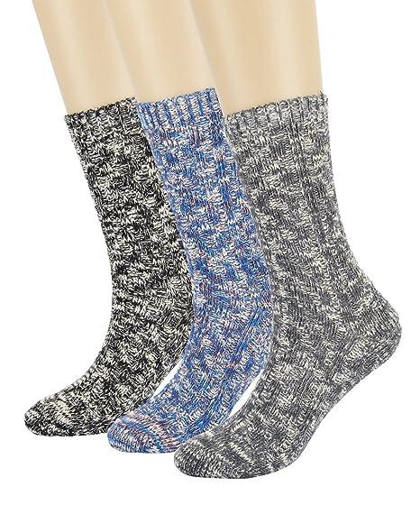 542b492f82b8 Eleray Women s Vintage Thick Knit Warm Comfort Cotton Slouch Crew Slipper  Boot Socks (3-