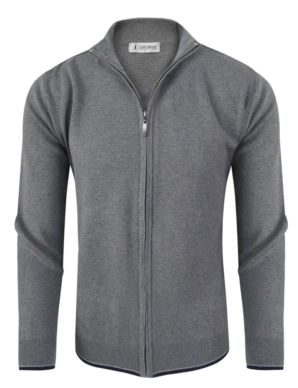 Tom's Ware Mens Casual Contrast Hem Full Zip Knit Cardigan TWHD1015-GRAY-US XXL