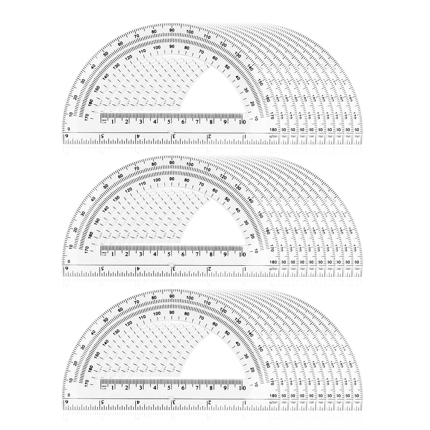 Protractors, Acrux7 6 inch Plastic Protractor, 30 Pack Math Protractor Semicircle Plastic Protractors 180 Degrees for Angle Measurement, Clear by Acrux7