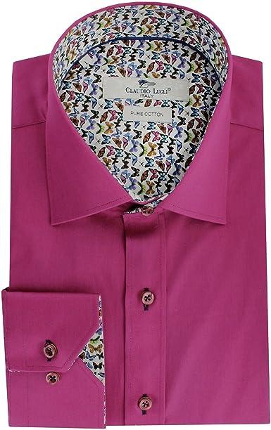 Claudio Lugli - Camisa Formal - para Hombre Rosa Fucsia: Amazon.es: Ropa y accesorios