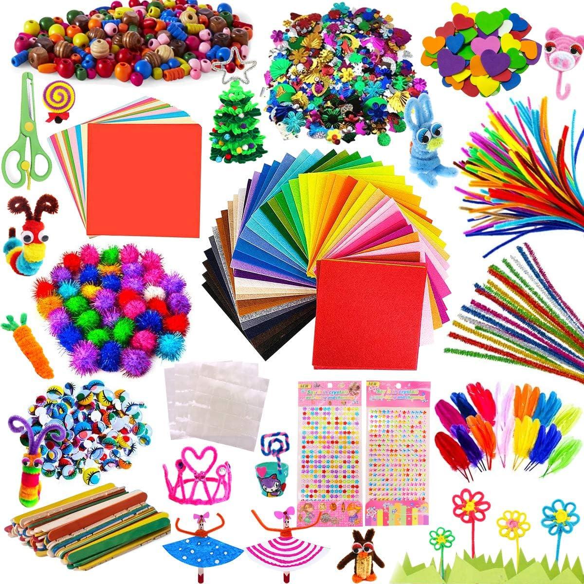 AYUQI Kit Manualidades niños, Pipe Cleaners Crafts Set, Juego de Manualidades, Limpiadores de Pipa Chenilla y Pompoms con Wiggle Eyes y Craft Sticks, Juego Creativo Regalo para Craft DIY Art Supplies