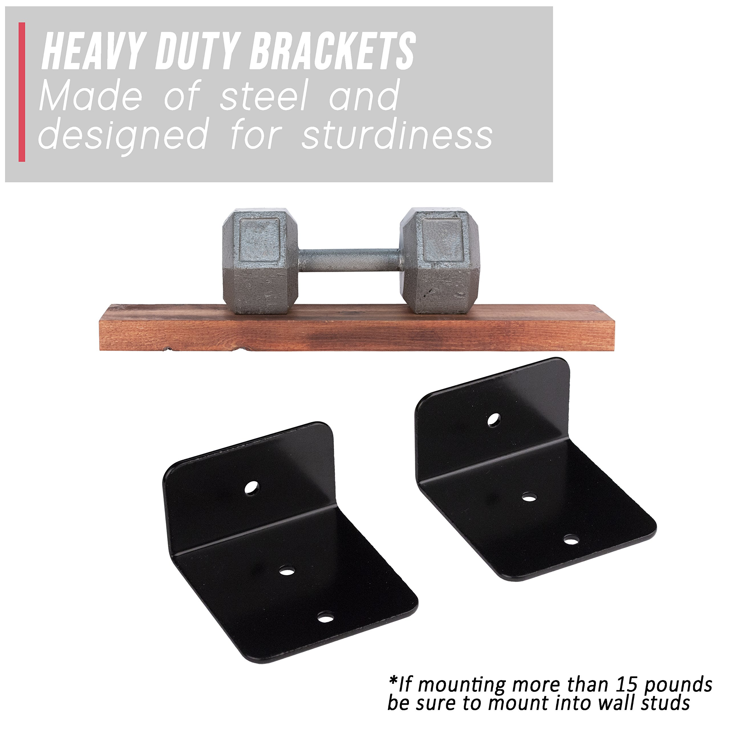 Floating Shelves Wall Mounted Shelf - Rustic Wood Decor Hanging for Bathroom Kitchen Bedrooms Living Room or Office Walls - Sturdy & Decorative Shelving Storage Rack - USA Made - 2 FT. Mahogany 2-Pack by US2U Displays (Image #2)