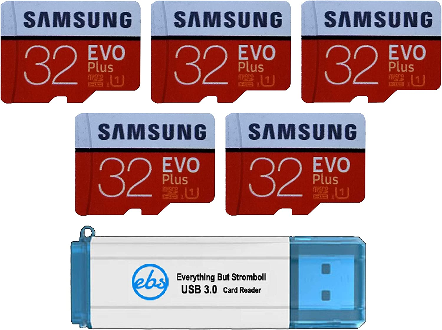 Samsung 32GB Evo Plus MicroSD Card (5 Pack) Class 10 SDHC Memory Card with Adapter (MB-MC32G) Bundle with (1) Everything But Stromboli 3.0 Reader with SD & Micro (TF) Slots