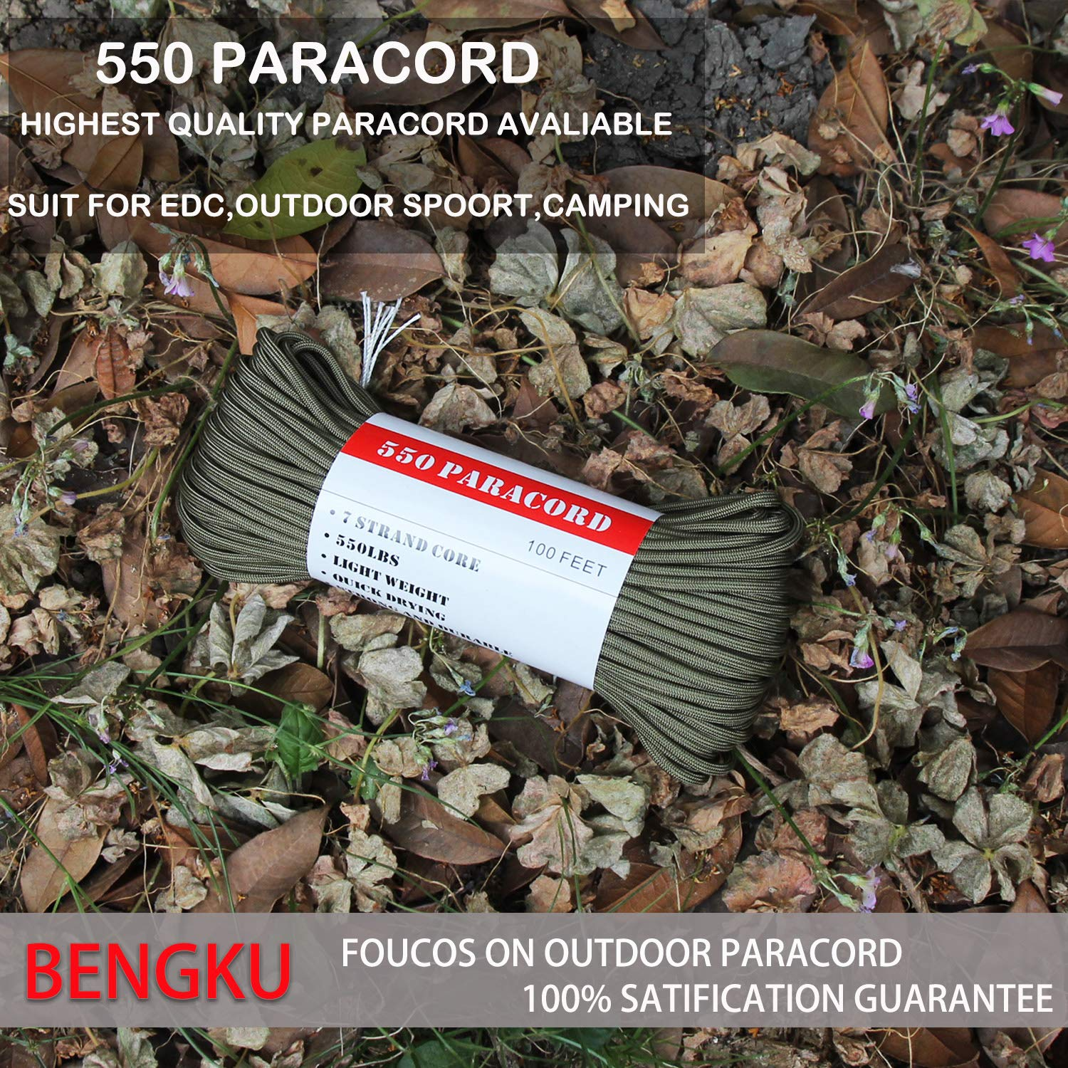 BENGKU Outdoor Survival Mil-SPEC 550lb Paracord/Parachute Cord(MIl-C-5040-H),100Feet,100% Nylon. (Olive Green, 100.00) by BENGKU (Image #3)
