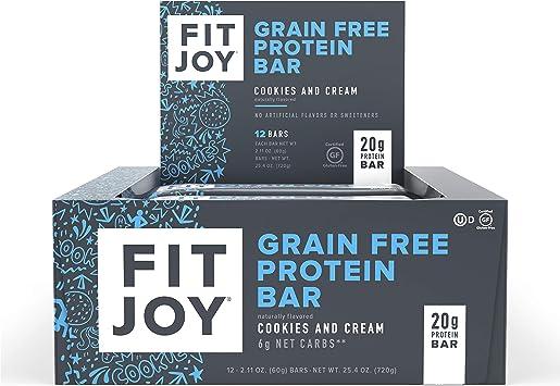 FitJoy - Pack de 12 barritas nutritivas de proteína - Helado de galleta