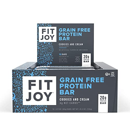 FitJoy Protein Bars, Cookies Cream, Gluten Free, Grain Free, Low Carb, 2.11 Ounce, 12 Pack