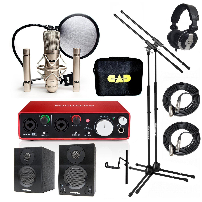 Home Recording Studio Bundle CAD GXL2200SSP MH110 Stands Focusrite Scarlett 2i2 (2nd GEN) Samson Media ONE BT3 Speakers
