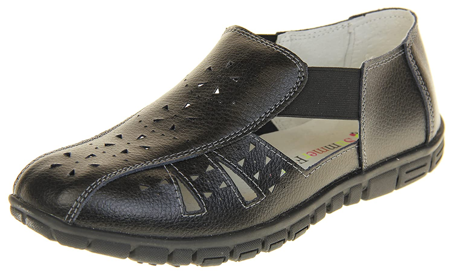 Coolers Womens Leather Wide Fit EEE Sandals Shoes B07D6RBRZ6 7 B(M) US|Black