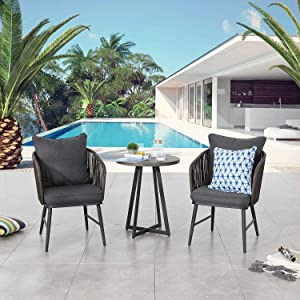 Festival Depot 3 Pieces Patio Furniture Outdoor Bistro Set Wooden Color Wicker Rattan Curved Armchairs with Soft&Deep Cushions Iron Desktop with Wood Grain Circle Coffee Side Table Slatted Steel Frame